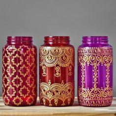 Moroccan Vase, Colorful Glass Mason Jar Vessel with Gold Accents for Table Decor, Choose One of Three Colors and Designs
