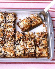 Chocolate-Coconut Bars - Martha Stewart Recipes Chocolate Coconut Bars - takes five minutes and tastes like Girl Scout Samoa cookies Southern Desserts, Köstliche Desserts, Dessert Recipes, Coconut Desserts, Bar Recipes, Milk Recipes, Recipies, Dinner Recipes, Yummy Treats