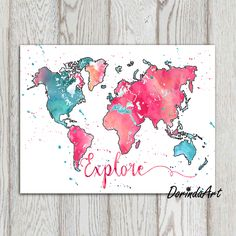 * A watercolor world map with the word: Explore Just send me a note if you would like to personalize the print or to remove the text. * Use to print a canvas or a poster or simply print and frame. Print over and over. * This is an INSTANT DOWNLOAD product. * This download includes 3 sizes. See below for details. * Do you want a different color or size? Just ask.  DISCOUNT CODES: Buy 2, Get 1 Free! Use code DISCOUNT241 at check-out (must have a $15 initial minimum in cart). Buy 3, Get 2 Free…