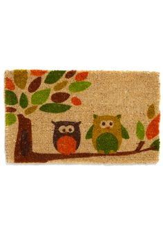 Branch-Style Home Doormat - Multi, Orange, Green, Brown, Tan / Cream, Print with Animals, Novelty Print, Dorm Decor, Owls