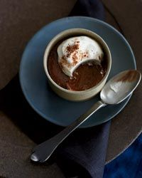 Mayan Chocolate Pudding : chocolate pot de crème spiced with cinnamon, allspice, and a touch of ground habanero chiles that were dried over an open to gives it a slightly smoky flavor