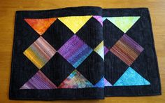 Bright Batik Quilted Table Runner Colorful Table by MyBitOfWonder