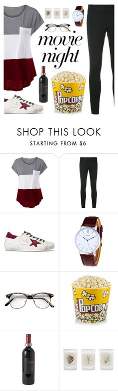 """""""Bring the Popcorn: Movie Night"""" by dora04 ❤ liked on Polyvore featuring adidas, Golden Goose, Match and Elizabeth Scarlett"""