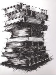 charcoal drawing of books stacked - Google Search
