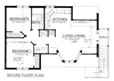 Second Floor Plan of Cape Cod   Coastal   Colonial   Country   Traditional   Garage Plan 86061