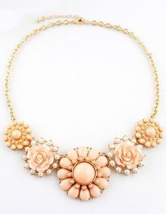 Pink+Gemstone+Gold+Flower+Necklace+5.94