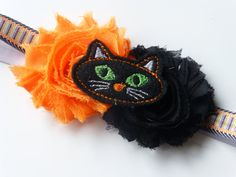 Halloween Headband  Black Cat Halloween by CuteAsaButtonbyAmy, $9.75
