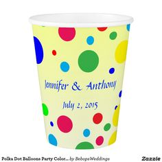 Polka Dot Balloons Party Colors Wedding Paper Cup