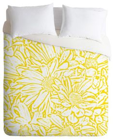 Lisa Argyropoulos Daisy Daisy In Golden Sunshine Duvet Cover farmhouse-duvet-covers