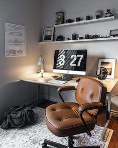 Reamenajarea unei vieţi noi Home Office Setup, Home Office Space, Home Office Design, Office Desk, Workspace Desk, Office Furniture, Furniture Ideas, Contemporary Living, Living Room Modern