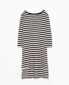 ZARA - WOMAN - SIDE SLIT STRIPED T-SHIRT Back To Work, Zara Women, Woman, T Shirt, Outfits, Shopping, Clothes, Tops, Fashion