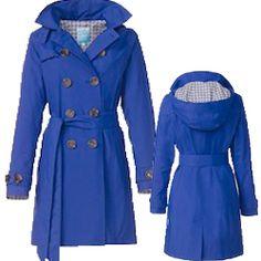 NEU! HappyRainyDays - Trenchcoat mit abnehmbarer Kapuze Ruby königsblau