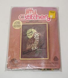 Jiffy-Stitchery-Sunset-Barn-Owl-Moon-5-034-x-7-034-Picture-Crewel-Embroidery-Kit-NEW