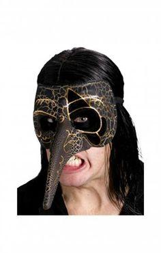 Venezianische Schnabelmaske schwarz/gold