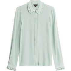 Tara Jarmon Silk Blouse (3.293.395 IDR) ❤ liked on Polyvore featuring tops, blouses, shirts, tara jarmon, teal, silk blouse, teal shirt, silk button-down shirts, button front shirt and button shirt