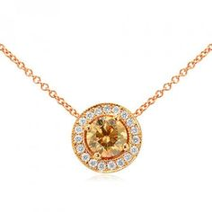 Fancy Brown Round Brilliant diamond halo pendant IGI Certificate SI1
