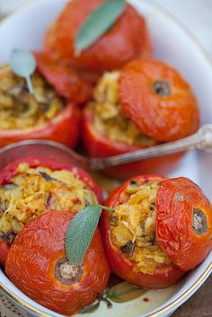 Stuffed Tomatoes with Rice & Mushrooms @Cooking Melangery