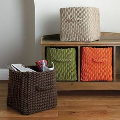 Multi-purpose knitted storage basket brings order to any room in your home. A great rope basket for holding books, magazines, toys and more. The Company Store Crochet Box, Crochet Basket Pattern, Love Crochet, Crochet Yarn, Crochet Baskets, Crochet Decoration, Crochet Home Decor, Rope Basket, Basket Weaving