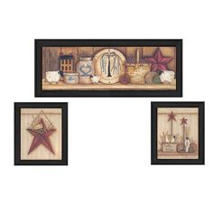 """The """"Stars"""" three piece collection by Mary June, consists of a country kitchen with stars, a welcome barn star and a sheep with a star. The collection is handcrafted and textured, all pieces are ready to hang."""