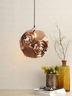Noah Copper Pendant Lamp | Buy Modern Hanging Lights Online India - An exquisite hanging light, the Noah has an elegant shape and design in metallic copper. This glittering metallic fixture offers beautiful ambient lighting and will brighten up your home interiors in a subtle way. Luxury Lighting, Lighting Store, Outdoor Lighting, Copper Pendant Lights, Modern Pendant Light, Pendant Lamps, Room Lights, Wall Lights, Ceiling Lights