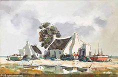 Fisherman's cottage by Pierre de Villiers Landscape Paintings, Drawings, Flower Printable, Painting, Cottage Art, Art, South African Artists, Landscape Art, Beautiful Art