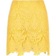 I'm shopping Yellow scalloped hem mini skirt in the River Island iPhone app.