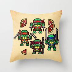 Teenage Mutant Ninja Turtles Pizza Party Throw Pillow by chobopop - $20.00