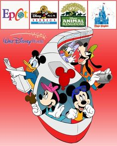 Walt Disney Monorail Mickey & Minnie Mouse Donald Duck and Goofy - Google Search