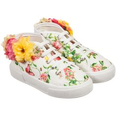 Monnalisa Girls White Floral Canvas Trainers at Childrensalon.com