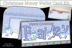 Christmas BAILEY Penguins Money or Gift Wallet Card Kit on Craftsuprint - View Now!