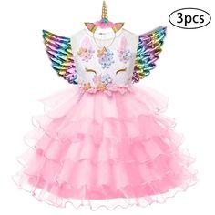 Shoes OBEEII Baby Girl 3PCS Birthday Outfit Unicorn Headband Romper
