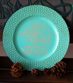 "13"" Decorative Personalized Antique MosaicTurquoise Charger Plate - Kelly Belly Boo-tique"
