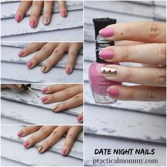 Date Night Nails: Matte Rose and Jewels Nail Design - a quick, easy and very cute nail design for your special date night. Click here to read the full post.