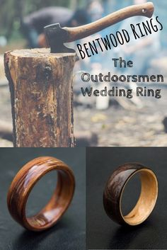 Handcrafted bentwood wedding rings. The true outdoorsmen wood wedding rings. These bentwood rings can be customized however you wish.