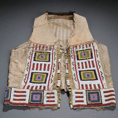 Plains Beaded Cloth and Hide Vest