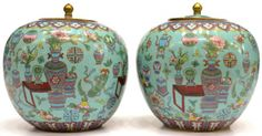 (2) CHINESE CLOISONNE ENAMEL LIDDED JARS : Lot 582✖️Chinese Cloisonne ✖️More Pins Like This At FOSTERGINGER @ Pinterest✖️