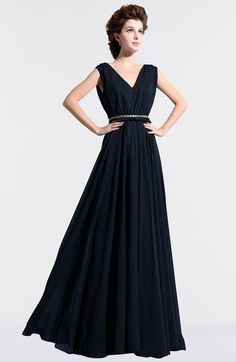 Navy Blue Vintage A-line Sleeveless Chiffon Floor Length Pleated Bridesmaid Dresses