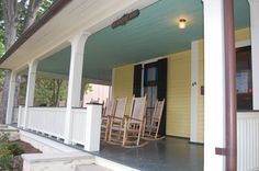 """Southerners like to paint their porch ceilings with """"Haint Blue"""" as it wards off evil spirits..."""