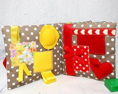 Libro despertar sensorial, Montessori, libro a tela baby, nacimiento de bebé juego de regalo despertar, tela de libro infantil