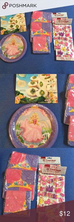 NWT! Princess Party Pack! All in original wrappers- 32 large napkins, 16 small napkins, 40 treat bags, 8 barbie princess plates, 12 Disney fairy edible decals. Perfect for next princess party! Other