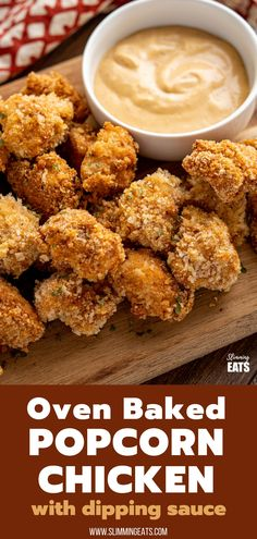 Popcorn Chicken - tender oven baked pickle brined Popcorn Chicken Bites served with the perfect chicken dipping sauce, these will be gone in seconds and loved by the whole family. Slimming World and Weight Watchers friendly