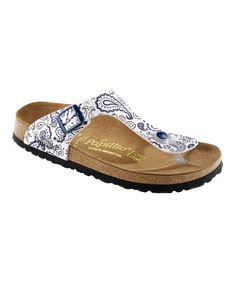 Take a look at this Bandana White & Blue Gizeh Sandal - Women by Papillio on #zulily today!
