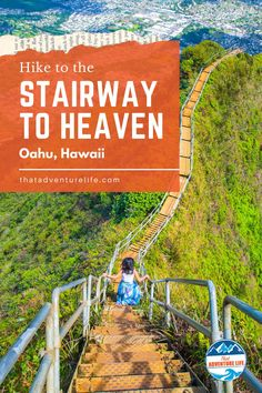 """Moanalua Valley Middle Ridge trail to Haiku Stairs or Stairway to Heaven by That Adventure Life. Directions to Moanalua Valley Middle Ridge, the legal """"back way"""" to get to Haiku Stairs (also called Stairway to Heaven) in Oahu, Hawaii. A wanderlust travellers and hikers paradise view of dreams. A bucket list adventure to include in your list of things to do while in Oahu. Grab your hiking gear, let's go! For all the details, this blog is it! Read now! Adventure Bucket List, Life Is An Adventure, Adventure Travel, Hawaii Hikes, Oahu Hawaii, Hiking Tips, Hiking Gear, Trail Guide, Us Travel Destinations"""