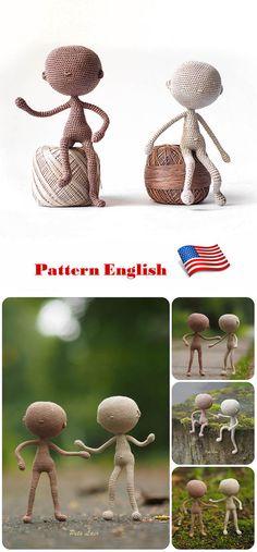 Basismodell Puppe, Miniatur-Körper Grundlage für die Puppen, kleine Puppe, Puppe leer, PDF Muster Häkelns, Englisch häkeln Tutorial Puppe