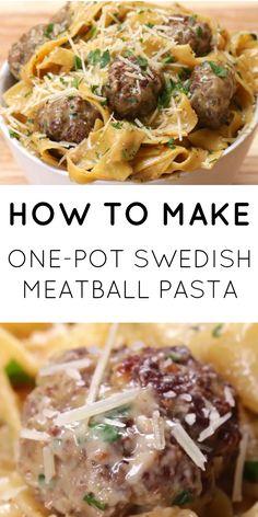 One Pot Swedish Meatball pasta! Yum!