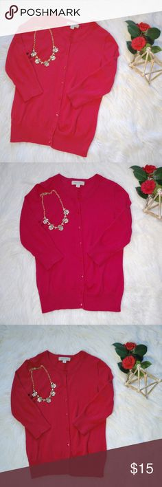 """Pink Button-Up Cardigan Merona Pink Button-Up Cardigan with 3/4 length sleeves. In excellent condition. 25"""" long, 17"""" bust, 18"""" sleeves 92% cotton, 6% nylon, 2% spandex Merona Sweaters Cardigans"""