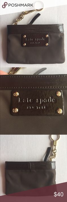Kate Spade coin purse Keychain! Kate Spade brown coin purse with key fob! Brown outlined in leather! Gold-tone accents! New without tags condition! 5x3.5 inches! Zipper closure! kate spade Bags Wallets