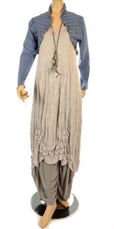 Philia Fabulous Blue Pin Tuck Bolero-Philia, lagenlook, womens plus size UK clothing.  Too bad it's not in USA