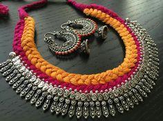 Waru💛 German Silver Cotton Thread Jewellery - Buy German Silver jewellery here To buy - 9586221777 Ethnic Jewelry, Silver Jewellery Indian, India Jewelry, Silver Jewelry, Silver Ring, Silver Earrings, Silver Bracelets, Bangles, Thread Jewellery