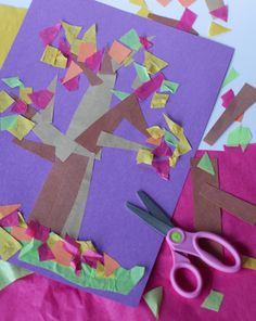 Activities: Make a Fall Tree Collage  Good for shapes!